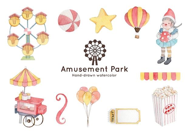 Akwarela ilustracja motyw parku rozrywki