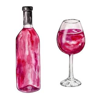 Akwarela ilustracja na białym tle butelka i kieliszek z czerwonego wina