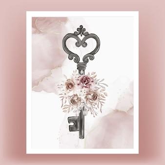 Akwarela ilustracja na białym tle klucz kwiat terakota