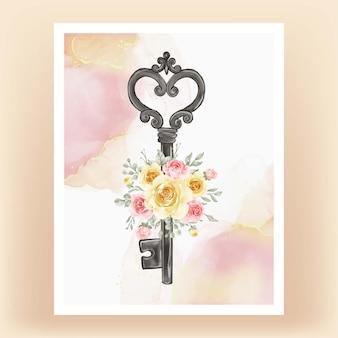 Akwarela ilustracja na białym tle klucz kwiat żółta brzoskwinia