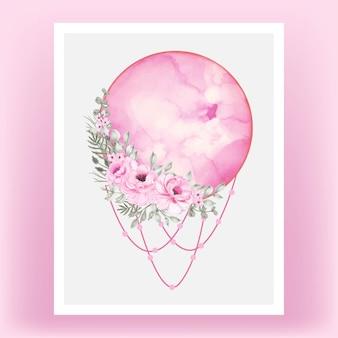 Akwarela ilustracja na białym tle klucz różowa wstążka