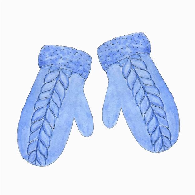 Akwarela ilustracja niebieskich dzianinowych rękawiczek. zima clipart