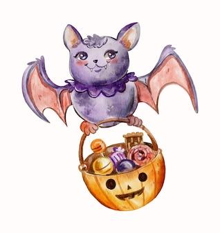 Akwarela ilustracja nietoperza halloween