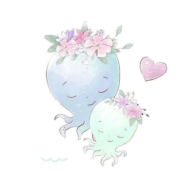 Akwarela ilustracja ośmiornice mama i dziecko z delikatnymi kwiatami