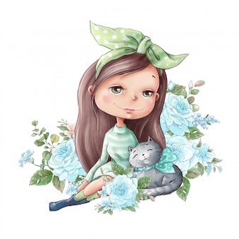 Akwarela ilustracja śliczna kreskówka dziewczyna z delikatnymi różami kwitnie
