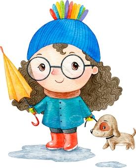 Akwarela ilustracja słodkie dziecko dziewczynka jesień w deszczu z psem