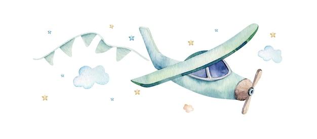 Akwarela ilustracja słodkiej i fantazyjnej sceny nieba z samolotem, chmurami, wstążkami.