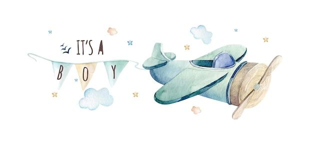 Akwarela ilustracja słodkiej i fantazyjnej sceny nieba z wstążką chmur samolotu
