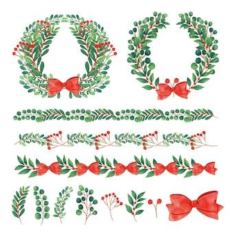 Akwarela ilustracja świąteczne dekoracje