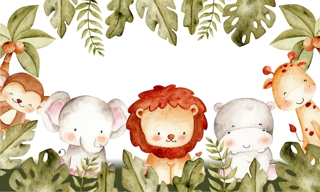Akwarela ilustracja szablon ramki zwierząt safari