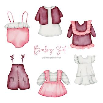 Akwarela ilustracja ubrania. zestaw ubrań dla niemowląt