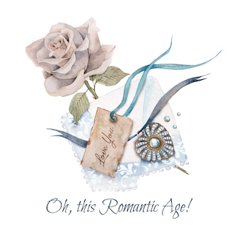 Akwarela ilustracja vintage wisiorek, róża herbaty i retro tag