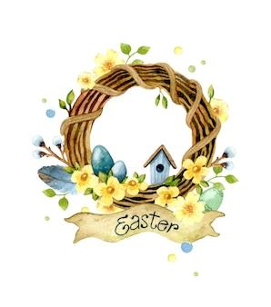 Akwarela ilustracja wielkanocny wieniec drewniany