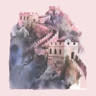 Akwarela ilustracja wielki mur chiny