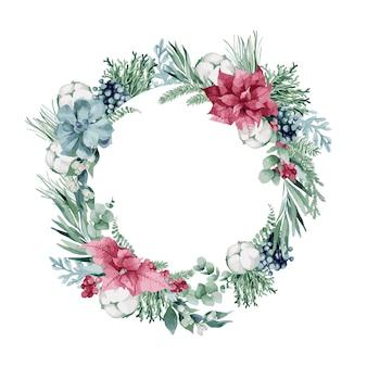 Akwarela ilustracja, wieniec bożonarodzeniowy