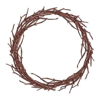 Akwarela ilustracja wieniec wielkanocny wiosna z gałęzi, na białym tle.