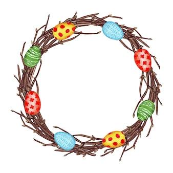 Akwarela ilustracja wieniec wielkanocny wiosna z gałęzi, pisanki, na białym tle.