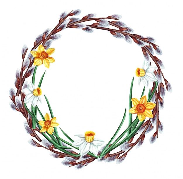 Akwarela ilustracja wieniec wielkanocny z gałęzi wierzby wiosną, narcyz, na białym tle.