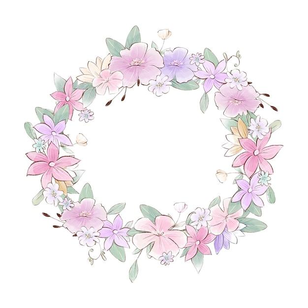 Akwarela ilustracja wieniec z delikatnymi kwiatami