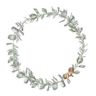 Akwarela ilustracja wieniec z roślin zimowych i jagód. święta bożego narodzenia i zimowe.