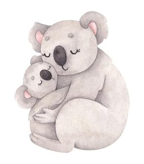 Akwarela ilustracja z mamą koala i jej dzieckiem