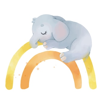 Akwarela ilustracja ze słodkim słoniem na tęczy