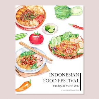 Akwarela indonezyjski plakat żywności