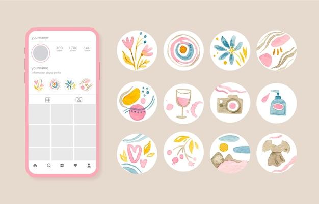 Akwarela instagramowa kolekcja podkreśla