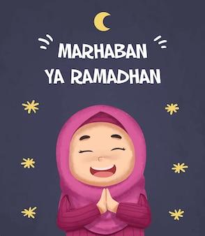 Akwarela islamska ramadan kartkę z życzeniami