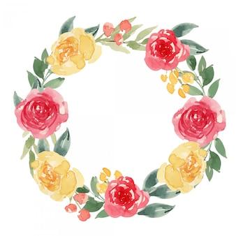 Akwarela jasny czerwony i żółty wieniec kwiatowy