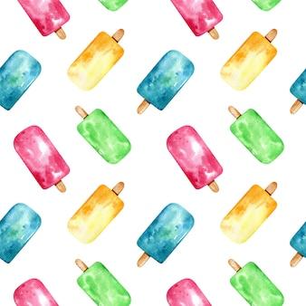 Akwarela jasny wzór z kolorowych lodów na patyku. tło mrożonych deserów owocowych