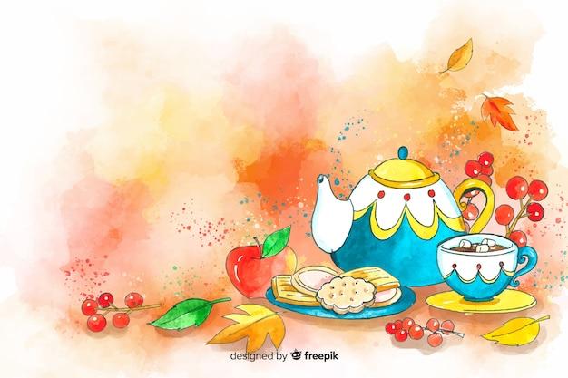Akwarela jesień jedzenie i liście tło