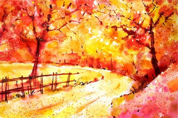 Akwarela jesień krajobraz tło