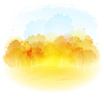 Akwarela jesień krajobraz.