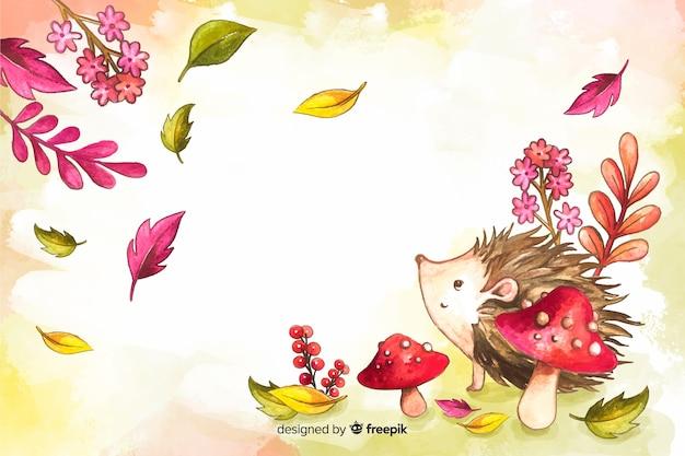 Akwarela jesień kwiaty i liście tło