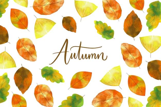 Akwarela jesień liście tło