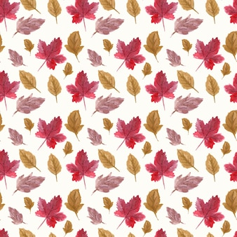 Akwarela jesień liście wzór