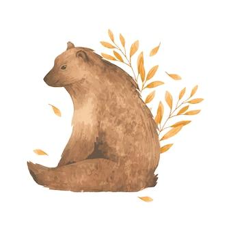 Akwarela jesień niedźwiedź w liściach.