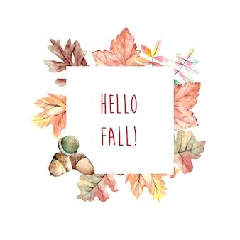 Akwarela jesień rama z liśćmi i dębami żołądź