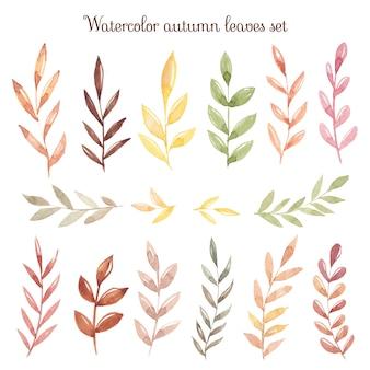 Akwarela jesień ręcznie rysować liście