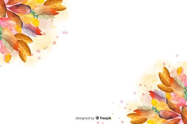 Akwarela jesień tło z liśćmi