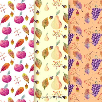 Akwarela jesień wzór kolekcja z liśćmi
