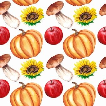 Akwarela jesień wzór z jabłkami, słonecznikami, grzybami, dynią na białym tle.