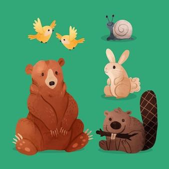 Akwarela jesień zwierzęta leśne