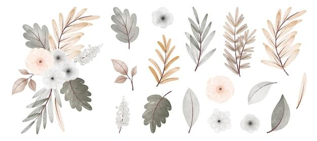 Akwarela jesienna kolekcja kwiatów i liści z bukietem