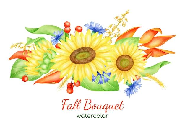 Akwarela jesienna kompozycja kwiatowa z słonecznikami, chabrami, czerwonymi jagodami i liśćmi