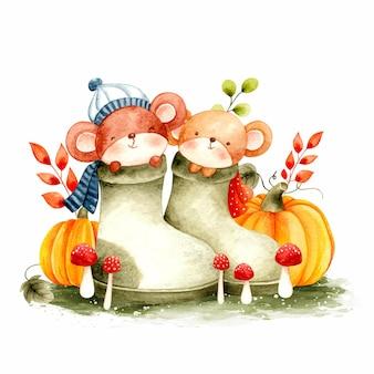 Akwarela jesienna mysz w bucie i dyni