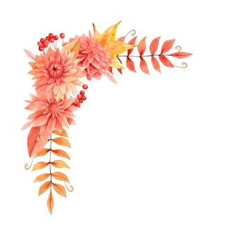 Akwarela jesienne bukiety boho z beżowymi i pomarańczowymi kwiatami i liśćmi