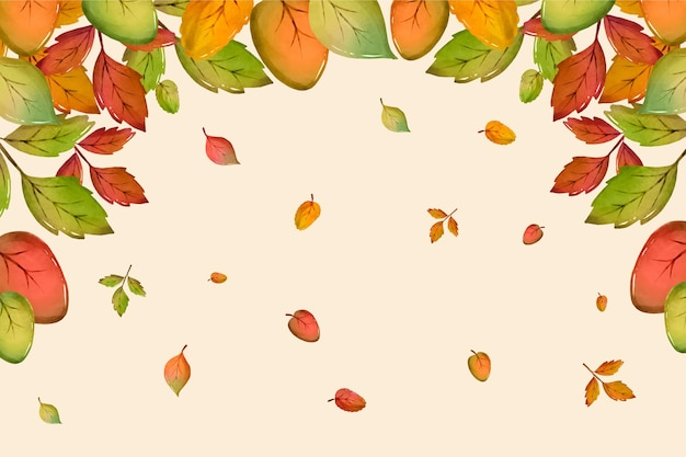 Akwarela jesienne liście spadające
