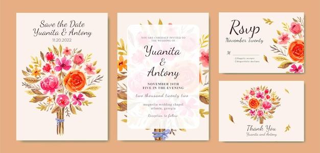Akwarela jesienny bukiet kwiatowy z kartą zaproszenia ślubne kwiaty pomarańczowe i czerwone